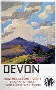 Devon. Great Western Railway Vintage Travel poster by Leonard Cusden. 1937
